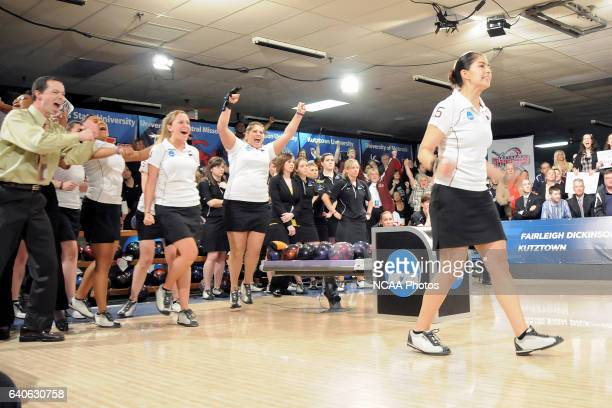 Maria Rodriguez of The University of Maryland Eastern Shore gets a strike in the top of the tenth frame to clinch the championship match as her...