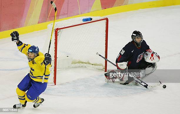 Maria Rooth of Sweden celebrates after scoring the team's second and winning goal past goalie Chanda Gunn of the United States in a sudden death...