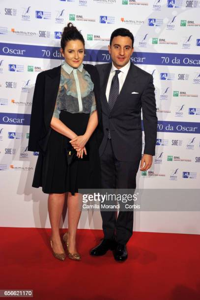 Maria Rosa De Sica and Federico Pellegrini attends a photocall for Nastri D'Argento on March 22 2017 in Rome Italy