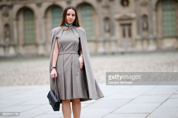 Maria Rosaria Rizzo fashion blogger La Coquette Italienne wears a Nobi Talai dress cape Aperlai Paris heels shoes an Ines de Parcevaux choker a...