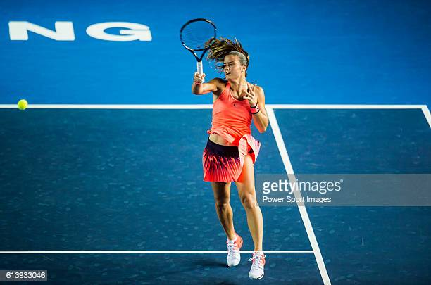 Maria Sakkari of Greece in action against Angelique Kerber of Germany during the 2016 Hong Kong Open at Victoria Park on October 11 2016 in Hong Kong...