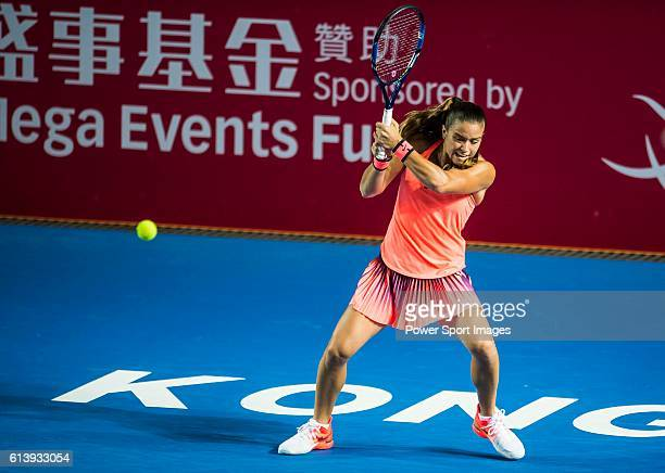 Maria Sakkari of Greece in action against Angelique Kerber of Germanyduring the 2016 Hong Kong Open at Victoria Park on October 11 2016 in Hong Kong...
