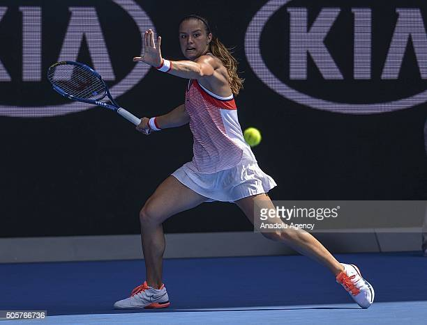 Maria Sakkari of Greece in action against Caria Suarez Navarro of Spain during day three of the 2016 Australian Open at Melbourne Park on January 20...