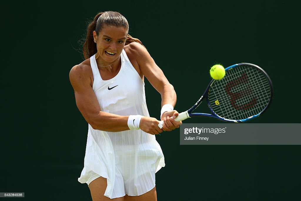 <a gi-track='captionPersonalityLinkClicked' href=/galleries/search?phrase=Maria+Sakkari&family=editorial&specificpeople=15013420 ng-click='$event.stopPropagation()'>Maria Sakkari</a> of Greece plays a back hand shot during the Ladies Singles first round match against Saisai Zheng of China on day one of the Wimbledon Lawn Tennis Championships at the All England Lawn Tennis and Croquet Club on June 27th, 2016 in London, England.