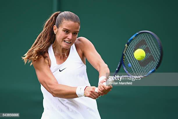 Maria Sakkari of Greece plays a backhand during the Ladies Singles second round match against Venus Williams of The United States on day four of the...