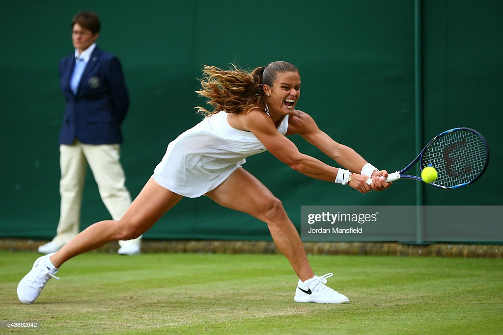 <a gi-track='captionPersonalityLinkClicked' href=/galleries/search?phrase=Maria+Sakkari&family=editorial&specificpeople=15013420 ng-click='$event.stopPropagation()'>Maria Sakkari</a> of Greece plays a backhand during the Ladies Singles second round match against Venus Williams of The United States on day four of the Wimbledon Lawn Tennis Championships at the All England Lawn Tennis and Croquet Club on June 30, 2016 in London, England.