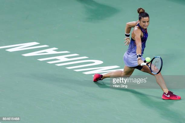 Maria Sakkari of Greece plays a backhand during the third round Ladies Singles match against Elena Vesnina of Russia on Day 4 of 2017 Dongfeng Motor...