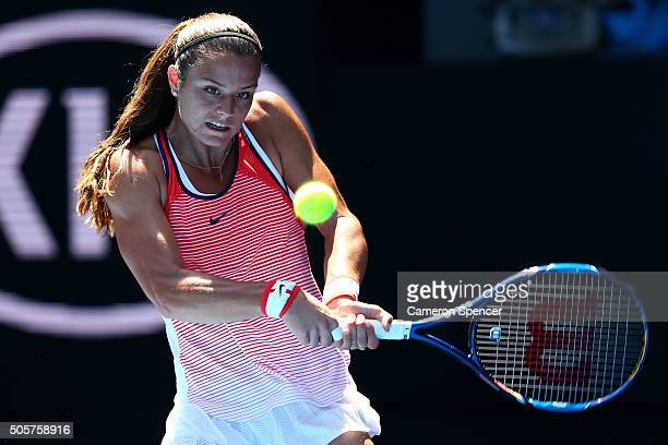 Maria Sakkari of Greece plays a backhand in her second round match against Caria Suarez Navarro of Spain during day three of the 2016 Australian Open...