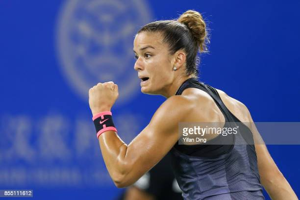 Maria Sakkari of Greece reacts after winning a point during the ladies singles semi final match against Alize Cornet of France on Day 5 of 2017...