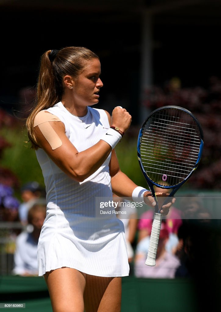 Maria Sakkari of Greece reacts during the Ladies Singles second round match against Kristyna Pliskova of the Czech Republic on day three of the Wimbledon Lawn Tennis Championships at the All England Lawn Tennis and Croquet Club on July 5, 2017 in London, England.