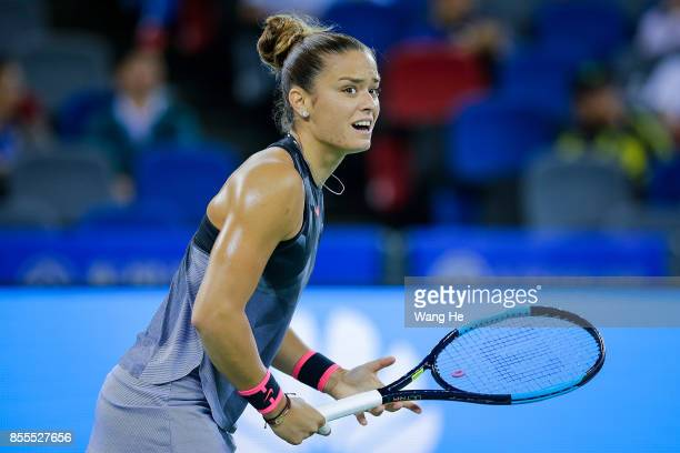 Maria Sakkari of Greece reacts during the match against Caroline Garcia of France on Day 6 of 2017 Dongfeng Motor Wuhan Open at Optics Valley...