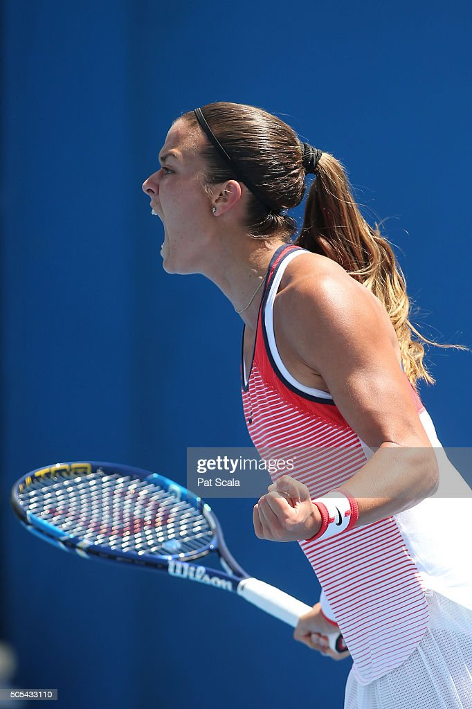 Maria Sakkari of Greece reacts in her first round match against Yafan Wang of China during day one of the 2016 Australian Open at Melbourne Park on January 18, 2016 in Melbourne, Australia.