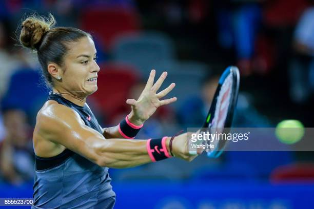 Maria Sakkari of Greece returns a shot during the match against Caroline Garcia of France on Day 6 of 2017 Dongfeng Motor Wuhan Open at Optics Valley...