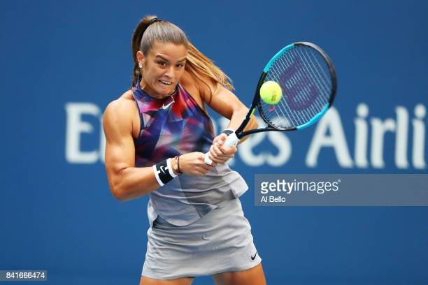 Maria Sakkari of Greece returns a shot to Venus Williams of the United States during their third round match on Day Five of the 2017 US Open at the...