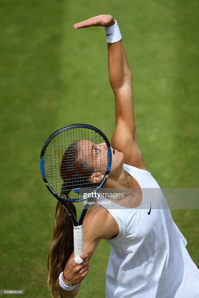 <a gi-track='captionPersonalityLinkClicked' href=/galleries/search?phrase=Maria+Sakkari&family=editorial&specificpeople=15013420 ng-click='$event.stopPropagation()'>Maria Sakkari</a> of Greece serves during the Ladies Singles second round match against Venus Williams of The United States on day four of the Wimbledon Lawn Tennis Championships at the All England Lawn Tennis and Croquet Club on June 30, 2016 in London, England.