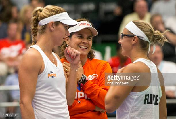 Maria Sanchez Gigi Fernandez and Kirsten Flipkens of the New York Empire during a WTT match between the Washington Kastles and the New York Empire on...