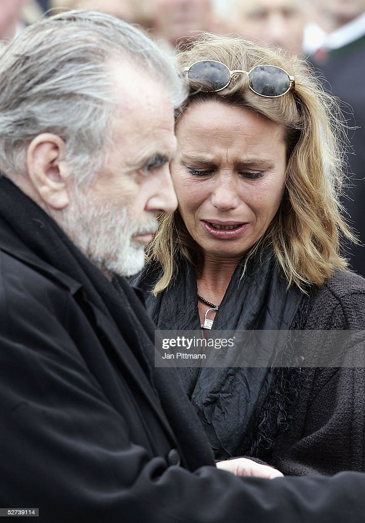 Maria Schell's brother Maximilian Schell left and her daughter Marie Theres KroetzRelin right attend the funeral of actress Maria Schell at the...