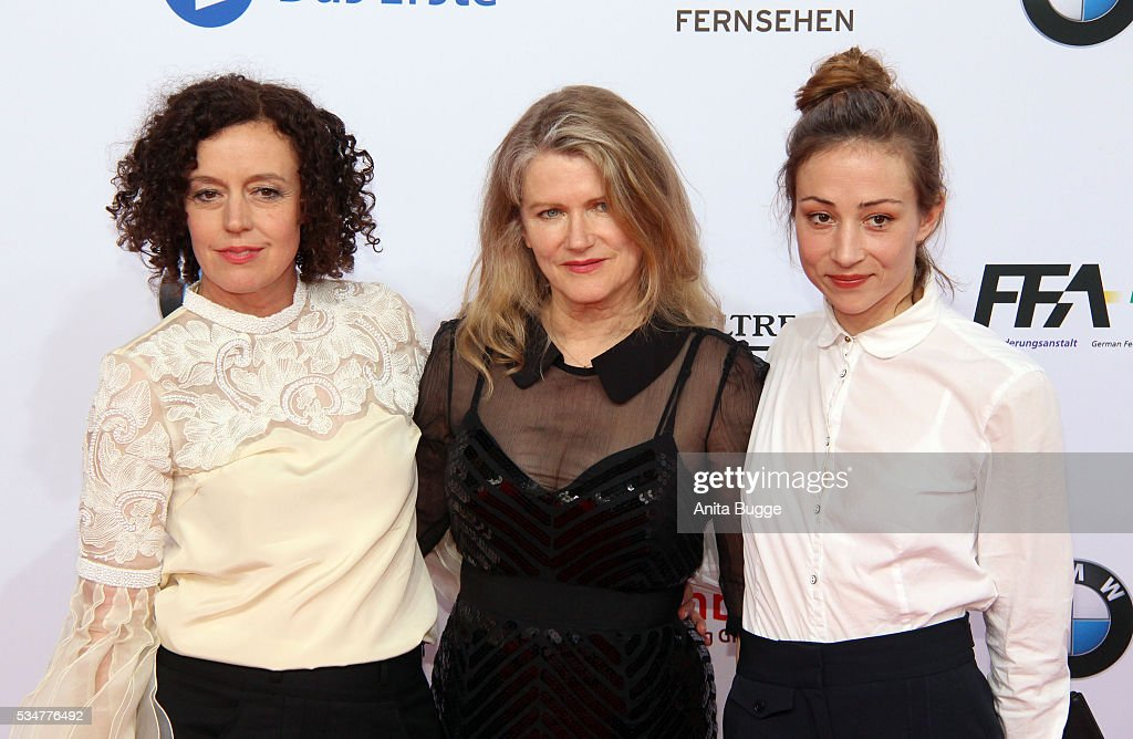 MAria Schrader; Barabara Sukowa and Aenne Schwarz attend the Lola - German Film Award (Deutscher Filmpreis) on May 27, 2016 in Berlin, Germany.