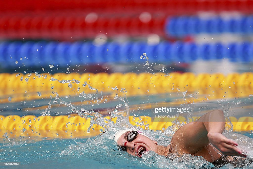 Maria Serrano of Ecuador competes during 800 meters swimming, as part of the XVII Bolivarian Games Trujillo 2013 at pools complex of Mansiche Stadium on November 18, 2013 in Trujillo, Peru.