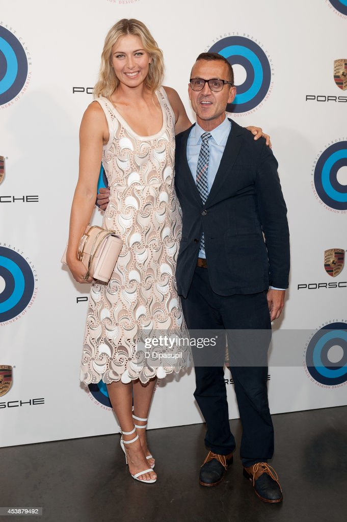 Maria Sharapova (L) and Council of Fashion Designers of America CEO Steven Kolb attend Fashion Targets Breast Cancer at The New Museum on August 20, 2014 in New York City.