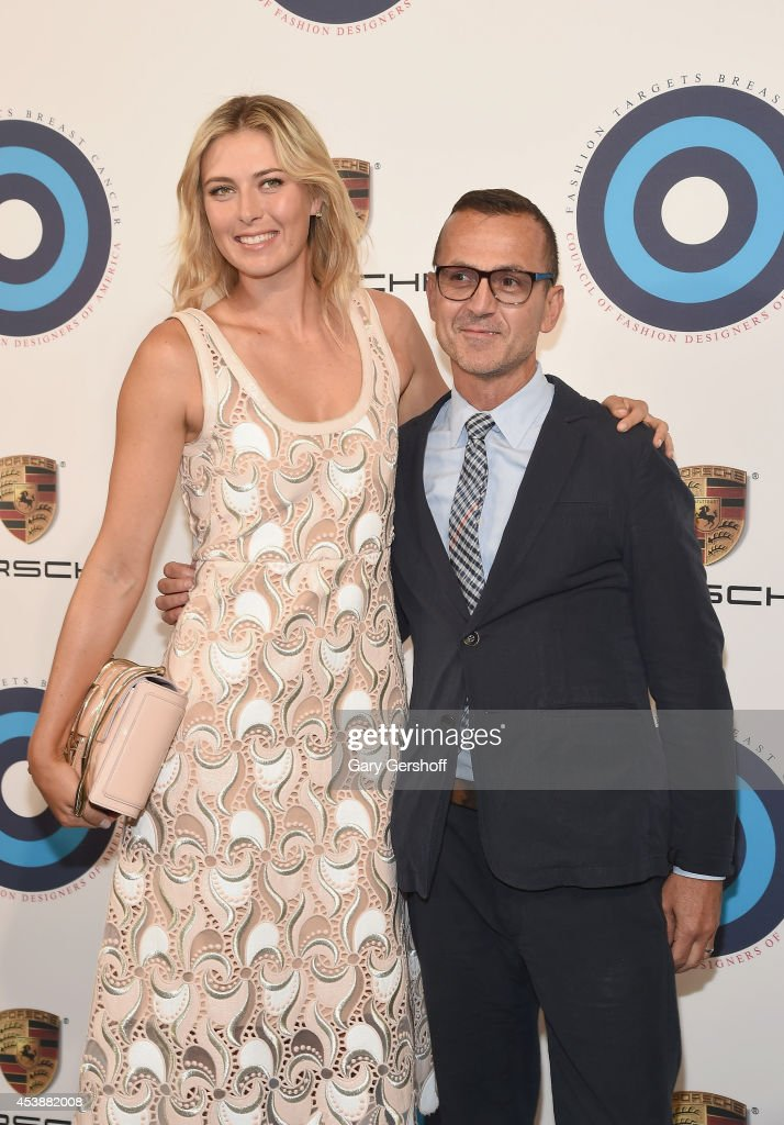 <a gi-track='captionPersonalityLinkClicked' href=/galleries/search?phrase=Maria+Sharapova&family=editorial&specificpeople=157600 ng-click='$event.stopPropagation()'>Maria Sharapova</a> (L) and Council of Fashion Designers of America CEO <a gi-track='captionPersonalityLinkClicked' href=/galleries/search?phrase=Steven+Kolb&family=editorial&specificpeople=854812 ng-click='$event.stopPropagation()'>Steven Kolb</a> attend Fashion Targets Breast Cancer at The New Museum on August 20, 2014 in New York City.