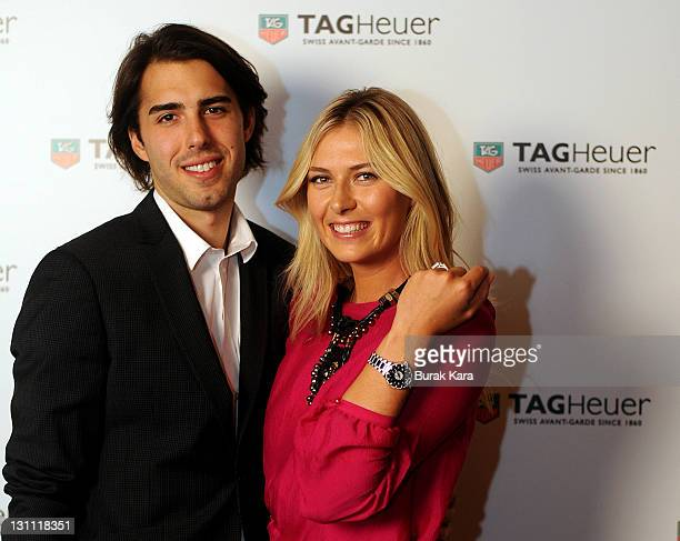 Maria Sharapova and her fiance Sasha Vujacic attend the TAG Heuer Formula 1 Lady Steel and Ceramic Pavee watch launch on November 1 2011 in Istanbul...