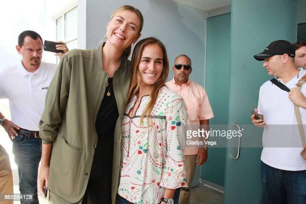 Maria Sharapova and Monica Puig bring aid to Hurricane Maria victims at Luis Munoz Marin International Airport on October 23 2017 in San Juan Puerto...