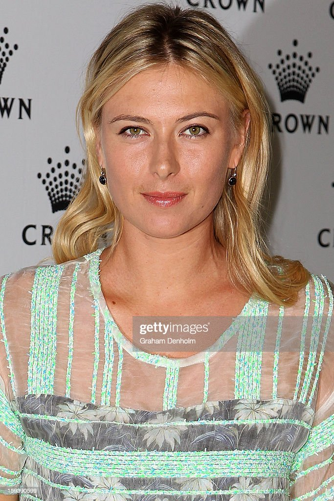 <a gi-track='captionPersonalityLinkClicked' href=/galleries/search?phrase=Maria+Sharapova&family=editorial&specificpeople=157600 ng-click='$event.stopPropagation()'>Maria Sharapova</a> arrives at Crown's IMG Tennis Player's Party at Crown Towers on January 13, 2013 in Melbourne, Australia.