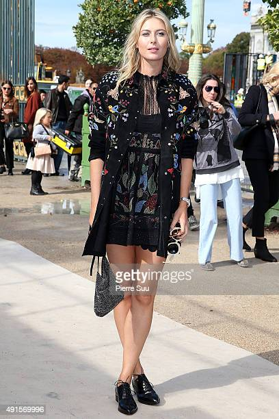 Maria Sharapova arrives at the Valentino show as part of the Paris Fashion Week Womenswear Spring/Summer 2016 on October 6 2015 in Paris France