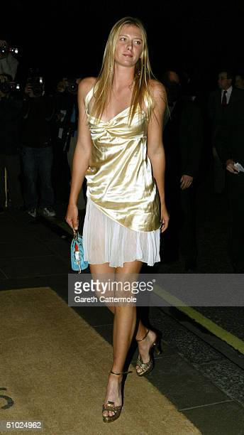 Maria Sharapova arrives at the 'Wimbledon Champion's Dinner' at The Savoy on July 4 2004 in London The annual dinner is organised by the All England...