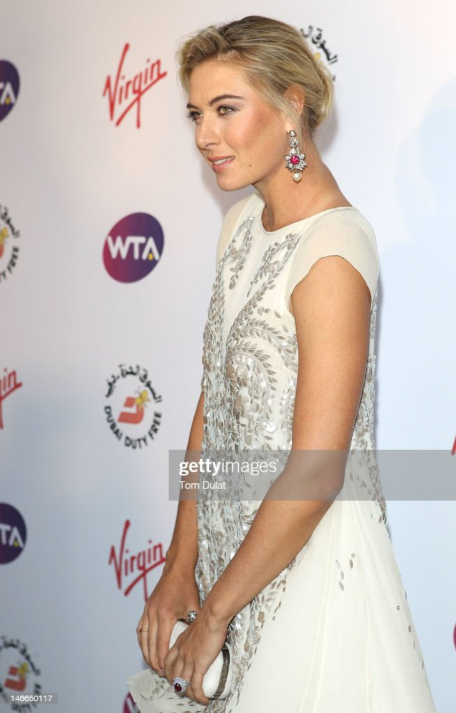 <a gi-track='captionPersonalityLinkClicked' href=/galleries/search?phrase=Maria+Sharapova&family=editorial&specificpeople=157600 ng-click='$event.stopPropagation()'>Maria Sharapova</a> arrives at the WTA Tour Pre-Wimbledon Party at The Roof Gardens, Kensington on June 21, 2012 in London, England.