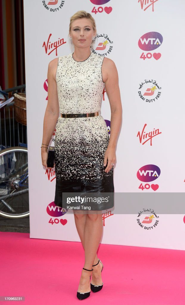 <a gi-track='captionPersonalityLinkClicked' href=/galleries/search?phrase=Maria+Sharapova&family=editorial&specificpeople=157600 ng-click='$event.stopPropagation()'>Maria Sharapova</a> attends the annual pre-Wimbledon party at Kensington Roof Gardens on June 20, 2013 in London, England.