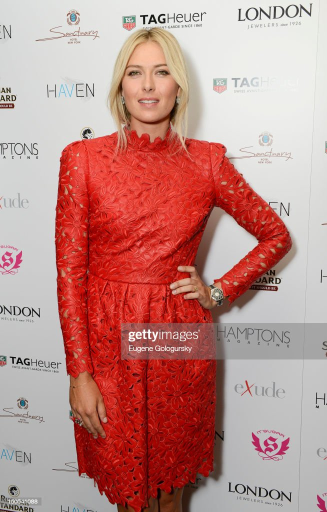 <a gi-track='captionPersonalityLinkClicked' href=/galleries/search?phrase=Maria+Sharapova&family=editorial&specificpeople=157600 ng-click='$event.stopPropagation()'>Maria Sharapova</a> attends the Hamptons Magazine celebration with cover star <a gi-track='captionPersonalityLinkClicked' href=/galleries/search?phrase=Maria+Sharapova&family=editorial&specificpeople=157600 ng-click='$event.stopPropagation()'>Maria Sharapova</a> at the Haven Rooftop at the Santcuary Hotel on August 20, 2012 in New York City.