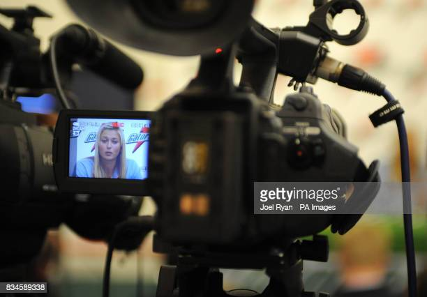 Maria Sharapova is filmed to promote new energy drink Gatorade at Kings College School in Wimbledon ahead of the 2008 Tennis championships south west...