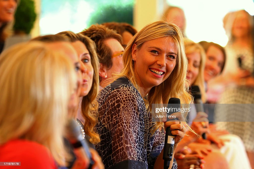 Maria Sharapova laughs as she speaks to the audience at the WTA 40 Love Celebration during Middle Sunday of the Wimbledon Lawn Tennis Championships at the All England Lawn Tennis and Croquet Club on June 30, 2013 in London, England.