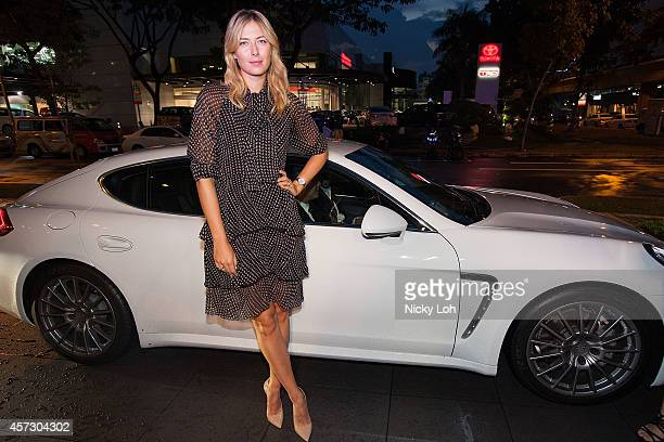 Maria Sharapova Maria Sharapova wearing a Chloe dress Kurt Geiger shoes and a watch by TAG Heuer attends a charity event with Porsche Asia Pacific on...