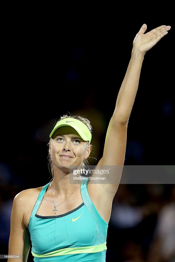 <a gi-track='captionPersonalityLinkClicked' href=/galleries/search?phrase=Maria+Sharapova&family=editorial&specificpeople=157600 ng-click='$event.stopPropagation()'>Maria Sharapova</a> of Russia acknowledges the crowd after her win over Eugenie Bouchard of Canada during the Sony Open at Crandon Park Tennis Center on March 22, 2013 in Key Biscayne, Florida.