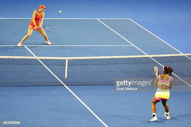 Maria Sharapova of Russia and Serena Williams of the United States in action in the women's final match during day 13 of the 2015 Australian Open at...