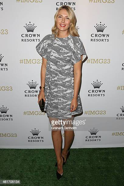 Maria Sharapova of Russia arrives for Crown's IMG@23 Tennis Players' Party at Crown Entertainment Complex on January 18 2015 in Melbourne Australia