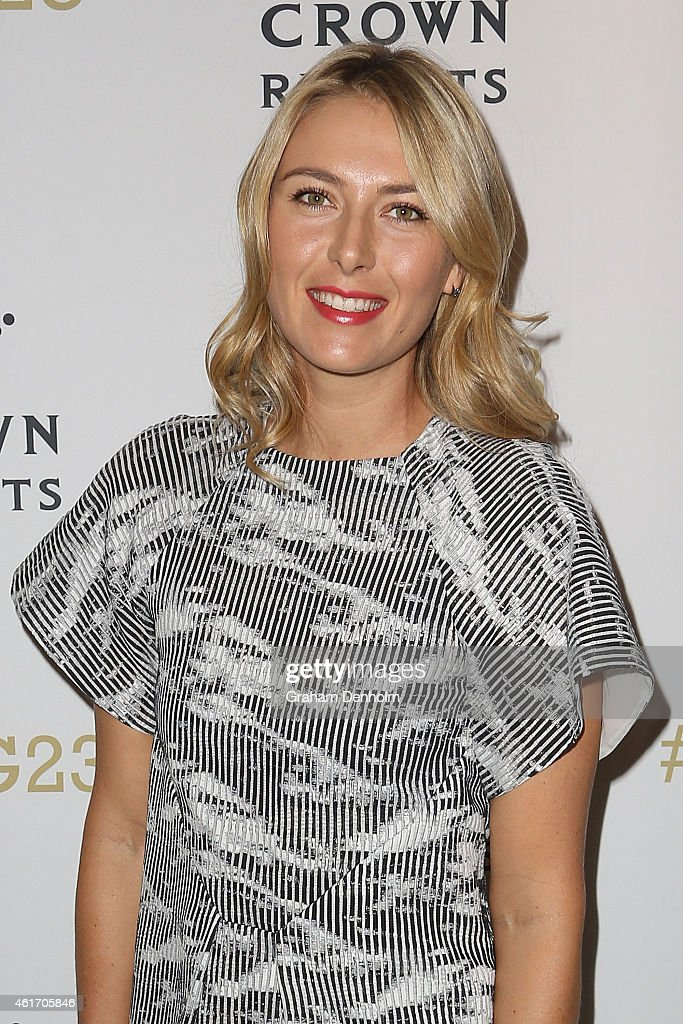 Maria Sharapova of Russia arrives for Crown's IMG@23 Tennis Players' Party at Crown Entertainment Complex on January 18, 2015 in Melbourne, Australia.