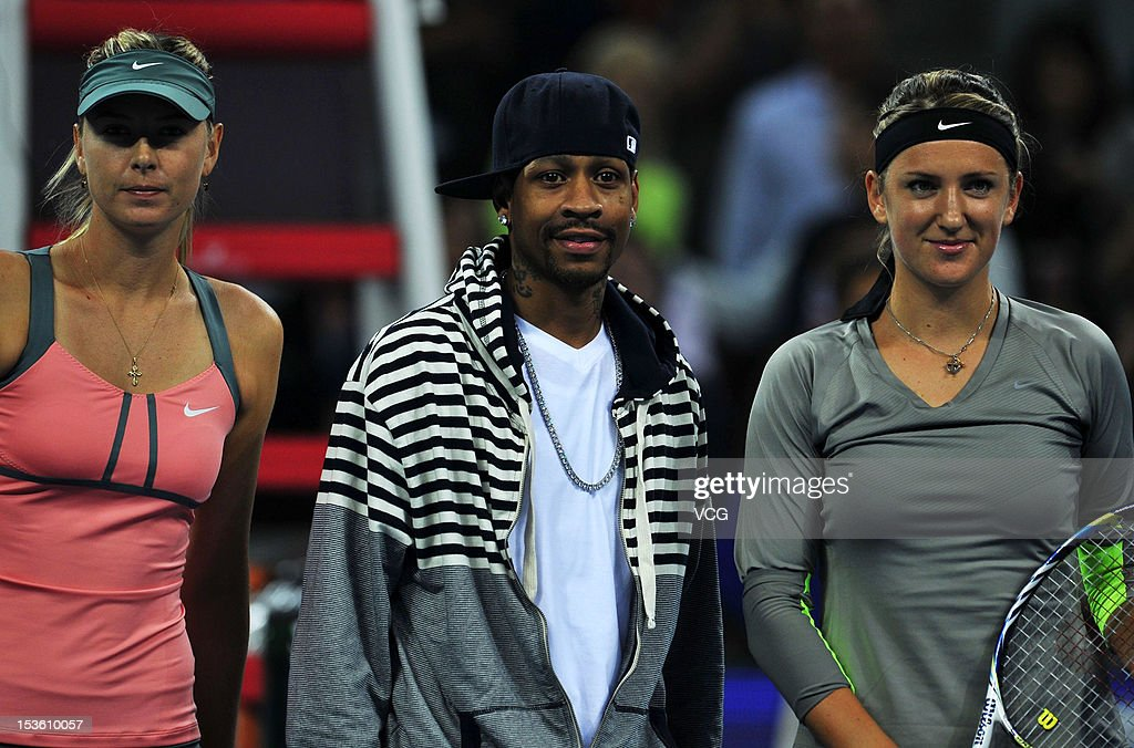 <a gi-track='captionPersonalityLinkClicked' href=/galleries/search?phrase=Maria+Sharapova&family=editorial&specificpeople=157600 ng-click='$event.stopPropagation()'>Maria Sharapova</a> of Russia, basketball player <a gi-track='captionPersonalityLinkClicked' href=/galleries/search?phrase=Allen+Iverson+-+Basketball+Player&family=editorial&specificpeople=201479 ng-click='$event.stopPropagation()'>Allen Iverson</a> and <a gi-track='captionPersonalityLinkClicked' href=/galleries/search?phrase=Victoria+Azarenka&family=editorial&specificpeople=604872 ng-click='$event.stopPropagation()'>Victoria Azarenka</a> of Belarus pose for photos during the Women's Single Final of the China Open at the China National Tennis Center on October 7, 2012 in Beijing, China.
