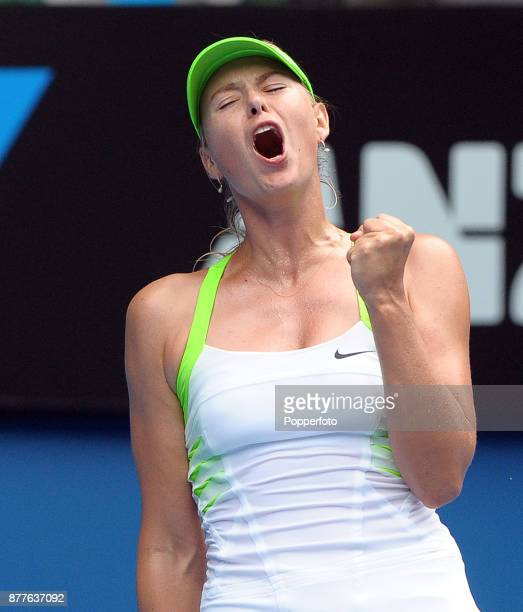 Maria Sharapova of Russia celebrates a point against Angelique Kerber of Germany during a Ladies Singles 3rd round match on day six of the 2012...