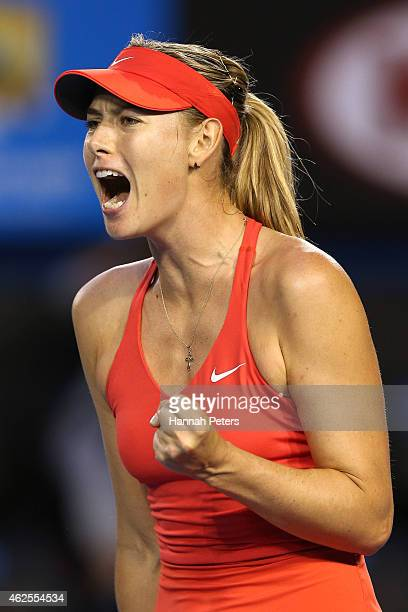 Maria Sharapova of Russia celebrates a point in her women's final match against Serena Williams of the United States during day 13 of the 2015...