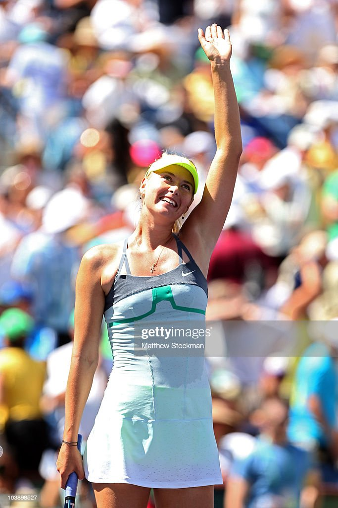 Maria Sharapova of Russia celebrates after defeating Caroline Wozniacki of Denmark in straight sets to win the women's final match of the 2013 BNP Paribas Open at the Indian Wells Tennis Garden on March 17, 2013 in Indian Wells, California.