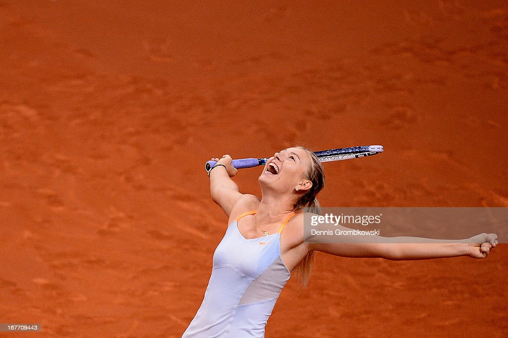 <a gi-track='captionPersonalityLinkClicked' href=/galleries/search?phrase=Maria+Sharapova&family=editorial&specificpeople=157600 ng-click='$event.stopPropagation()'>Maria Sharapova</a> of Russia celebrates after defeating Na Li of China in the final match during Day 7 of the Porsche Tennis Grand Prix at Porsche-Arena on April 28, 2013 in Stuttgart, Germany.