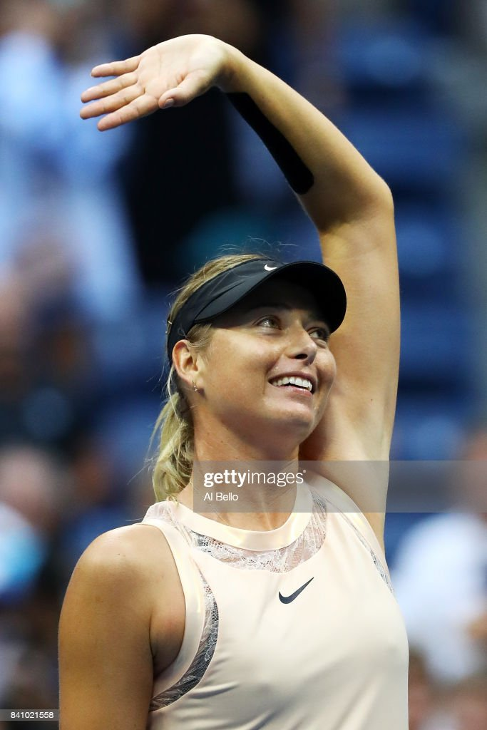 Maria Sharapova of Russia celebrates after defeating Timea Babos of Hungary in their second round Women's Singles match on Day Three of the 2017 US Open at the USTA Billie Jean King National Tennis Center on August 30, 2017 in the Flushing neighborhood of the Queens borough of New York City.