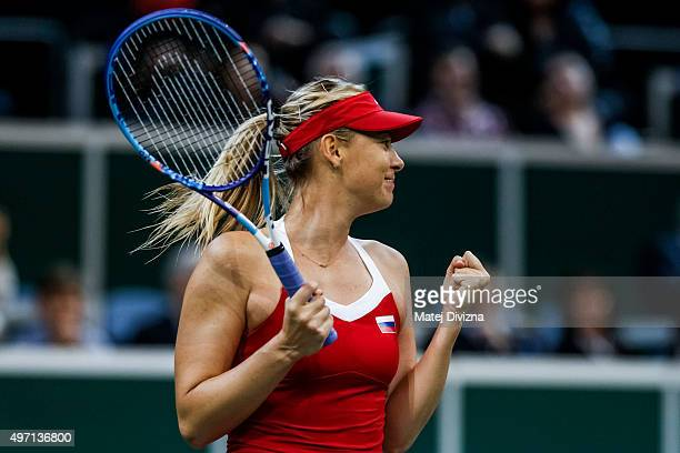 Maria Sharapova of Russia celebrates after match with Karolina Pliskova of Czech Republic during day one of the Fed Cup final match between Czech...