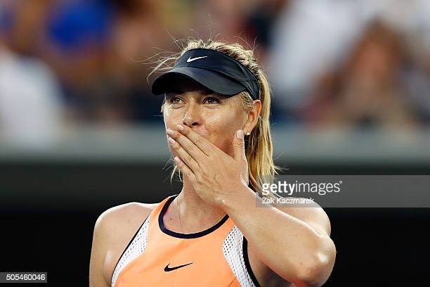 Maria Sharapova of Russia celebrates after winning her first round match against Nao Hibino of Japan during day one of the 2016 Australian Open at...