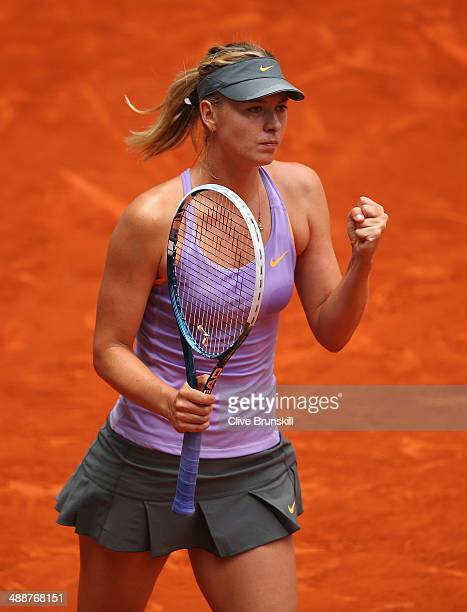 Maria Sharapova of Russia celebrates match point against Samantha Stosur of Australia in their third round match during day six of the Mutua Madrid...