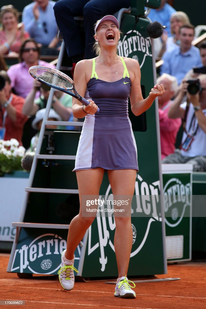 Maria Sharapova of Russia celebrates match point in her womens' singles semi-final match against Victoria Azarenka of Belarus against during day twelve of the French Open at Roland Garros on June 6, 2013 in Paris, France.